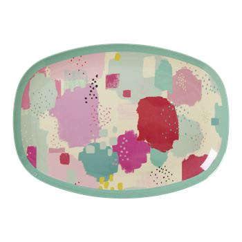 Rice Dk | Small Rectangular Melamine Plate with Splash Print