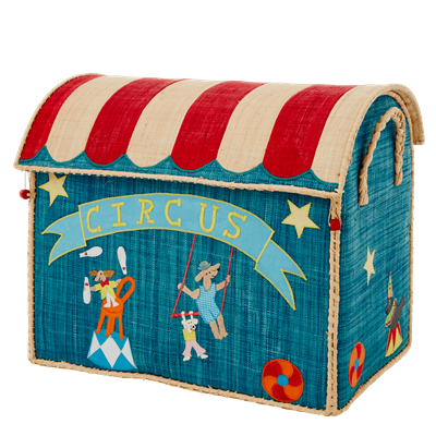 Rice DK Handmade Embroidered Raffia Toy Basket Circus