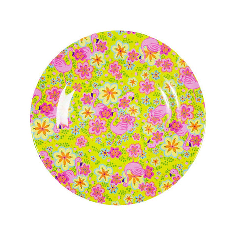 Rice DK Side Flamingo Print Plate Two Tone Melamine Plates
