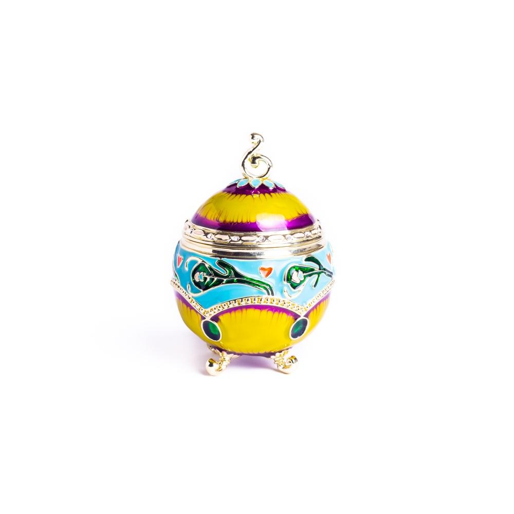 Colorful Decorated Faberge Egg with Peacock Surprise