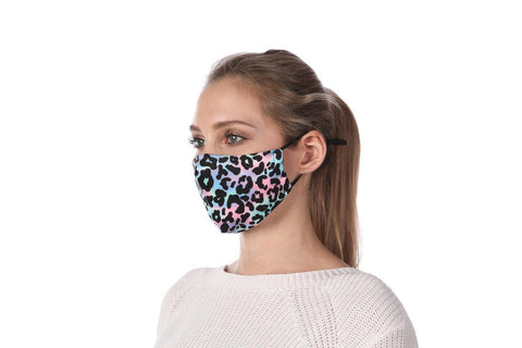 Leopard Pinkish and bluish Print Washable Mouth Mask + 2 Protective PM 2.5 Filters