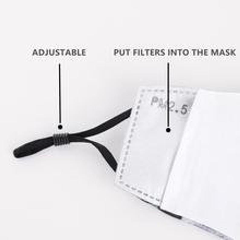 Dark Grey Print Washable Mouth Mask + 2 Protective PM 2.5 Filters
