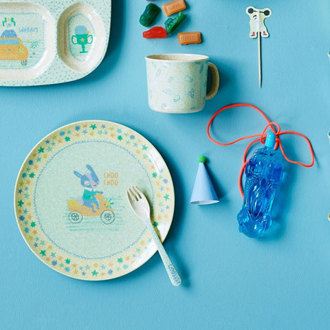 Rice DK | Kids Bamboo Melamine Spoon and Fork with Boys Race Print