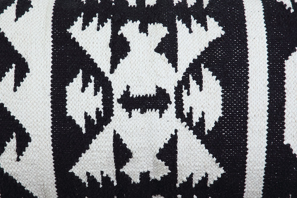 Tulum Kilim Lumbar Pillow, Black & White