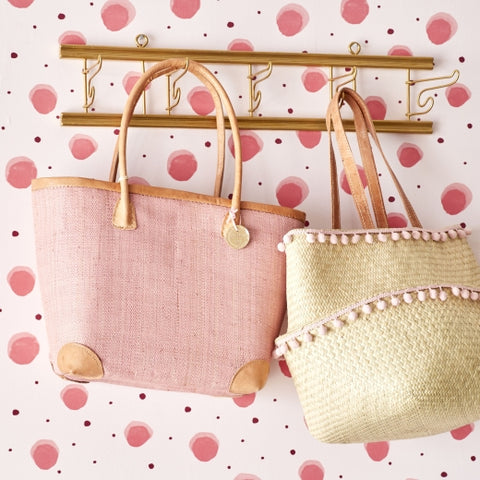 Rice DK Medium Raffia Pink Shopping Bag with Leather Trimmings