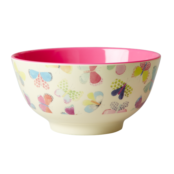 Rice DK Butterfly Print Two Tone Melamine Bowl