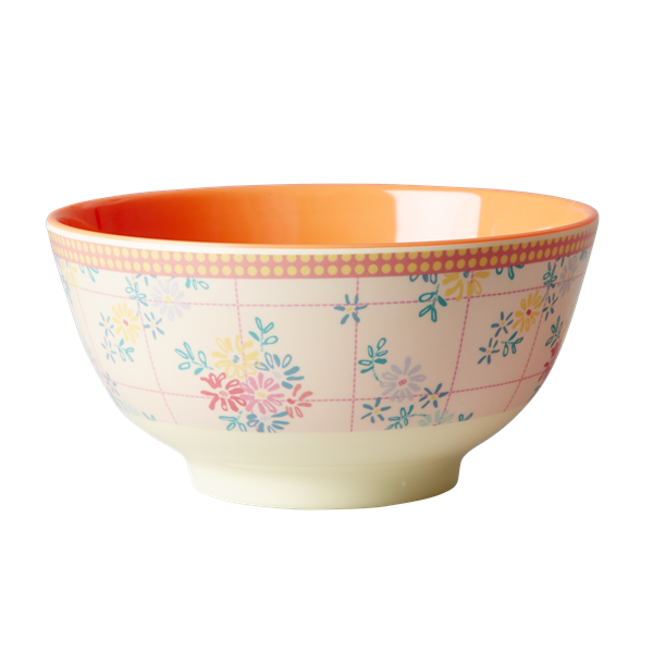 Rice DK Embroidered Flower Print Two Tone Bowl