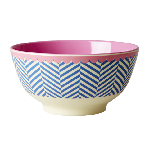 Rice DK Sailor Stripe Print Two Tone Large Melamine Bowls