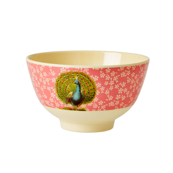 Rice DK Melamine Two-Tone Open Feathers Peacock Print Bowl