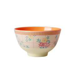 Rice DK Embroidered Flower Print Two Tone Bowls