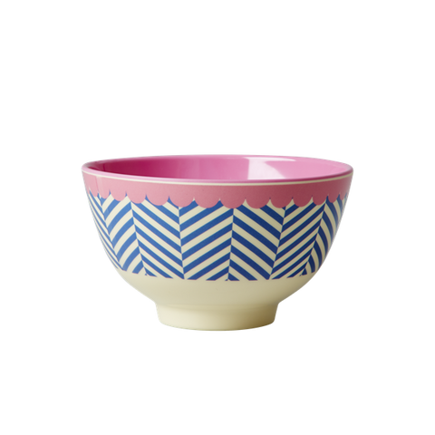 Rice DK Sailor Stripe Print Two Tone Small  Melamine Bowl