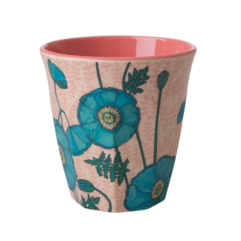 Rice DK | Melamine Cup Two Tone with Blue Poppy Print