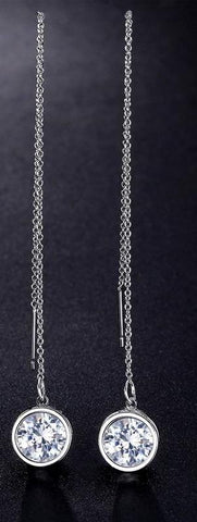 Chain Dangle CZ Crystal White Gold Color Long Earrings