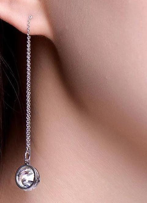 Chain Dangle Crystal White Gold Color Long Earrings