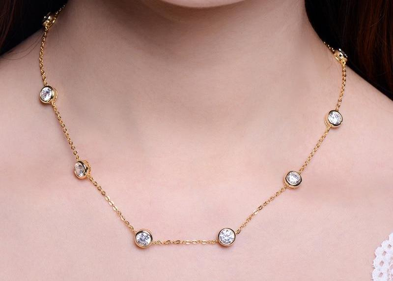 Zirconia Crystal Gold / White / Rose Gold Color Choker Necklaces