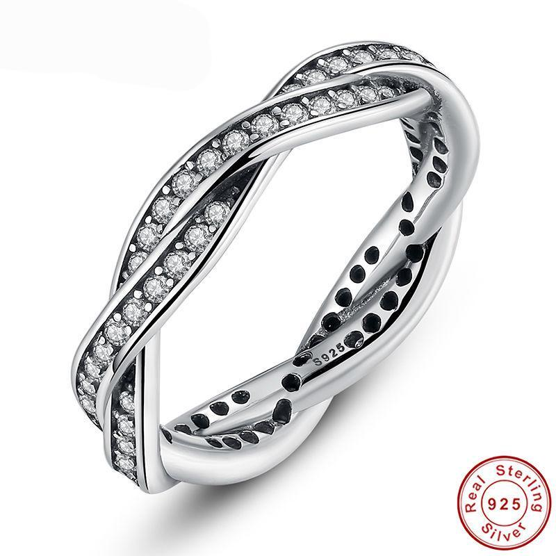 Silver/Gold BRAIDED PAVE SILVER RING