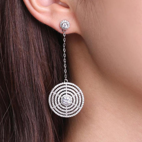 Round Earrings for Women White Gold Color Multi Circles Crystal Drop Earrings