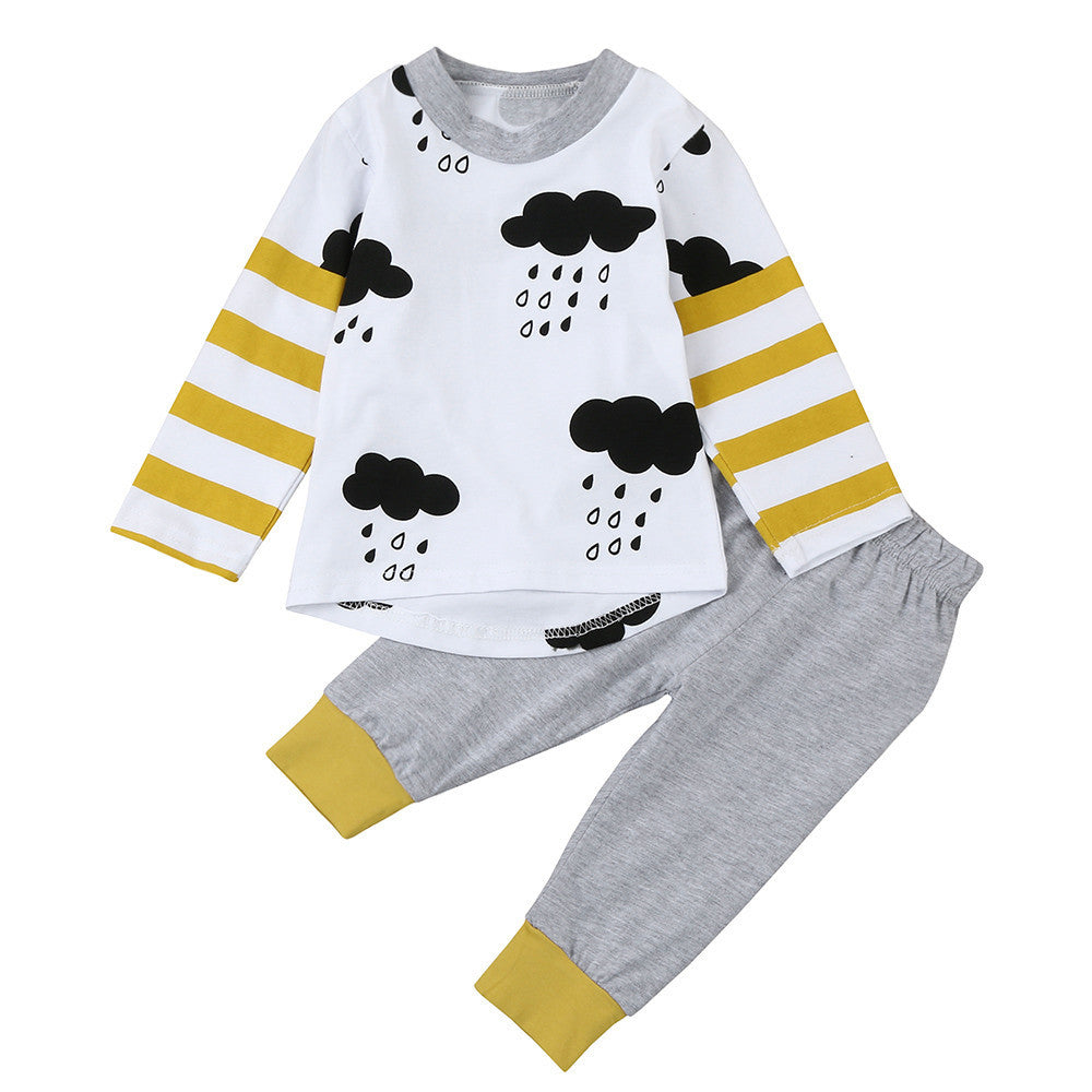 Newborn Infant Baby Boys Girls Clouds Print long sleeve outfits