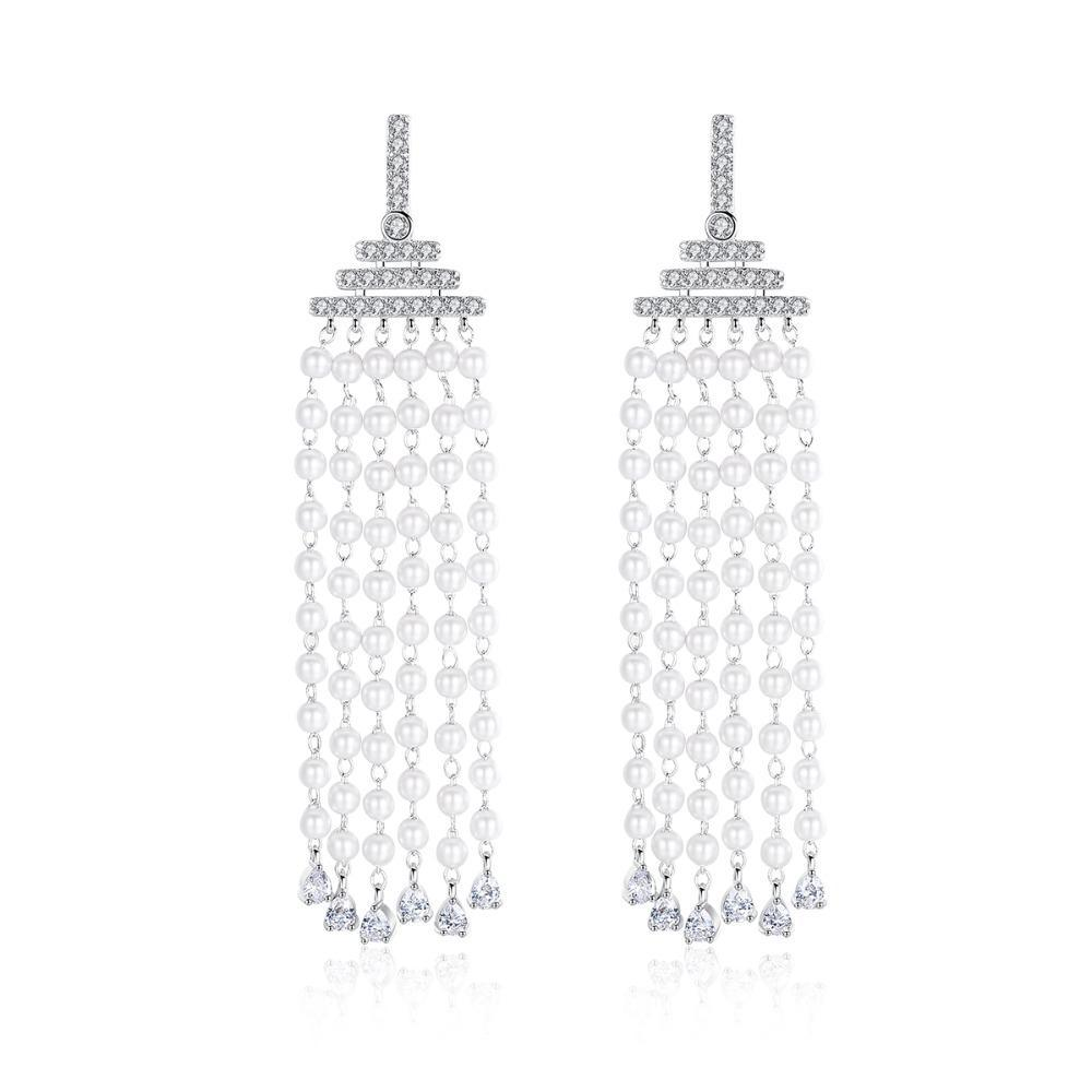 New Fashion Pearls Beaded Tassel Long Dangle Earrings Paved AAA CZ Bohemian Earring For Noble Women Jewellry
