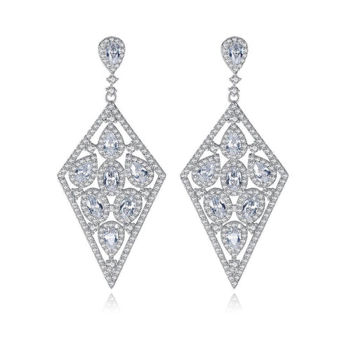 Luxury Bridal Silver Color Geometric Tear Drop Cubic Zirconia Fashion Dangle Earring for Women Party Wedding Jewelry