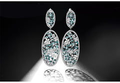 New Vintage Silver-color Green Teardrop CZ Flower Oval Shape