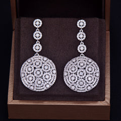 Luxury Long Round Shape Dangle Full Mirco Pave Cubic Zirconia Engagement Party Silver Earring