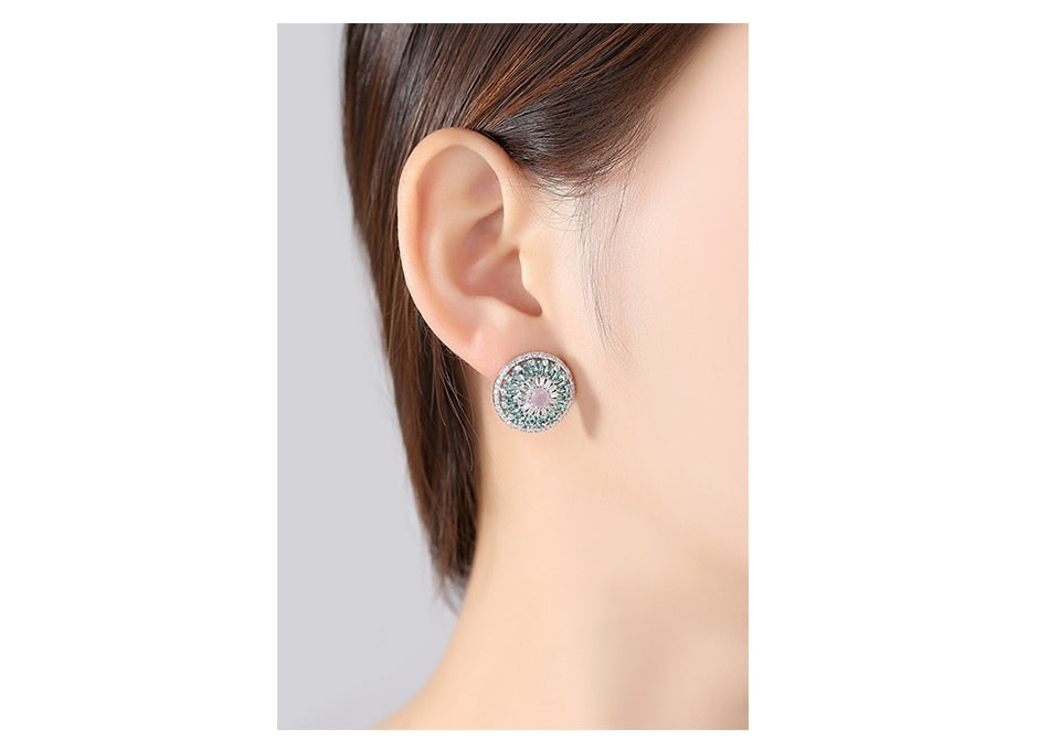 Trendy Silver Color Stud Earrings Paved Multi AAA Austrian Cubic Zirconia Earring for Women Fashion Party Jewelry