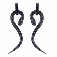 Curl Snake Full Cubic Dangle Drop Earrings