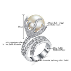 Ultra Big Synthetic Pearl Jewelry Fire Shaped Zirconia Rhodium Color Micro Paved Rings for Women New Anel Feminino