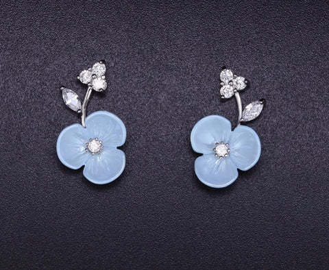 Flower Studs Earrings for Women CZ Female