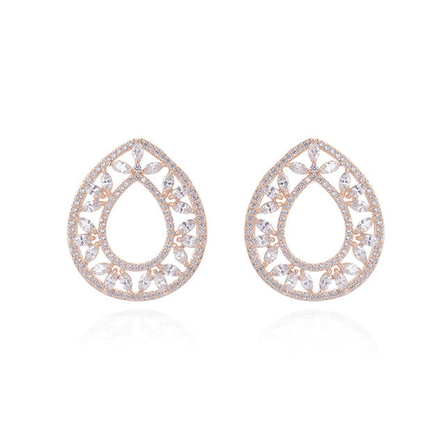 Pear shape Stud earrings ornamated with small marquee and rounds Cubic Zircon