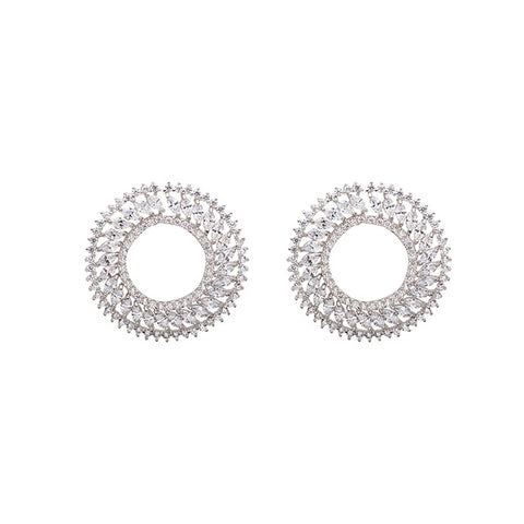 Round AAA Cubic Marquee Zirconia Classic Stud Earrings