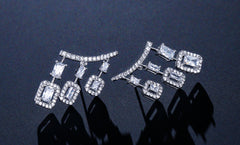 White Gold Cubic Zircon Drop Earrings Chandelier