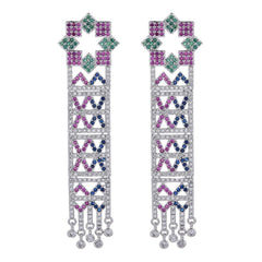 Luxurious color micro inlaid zircon earrings Exaggerated zircon earrings for women at important occasions