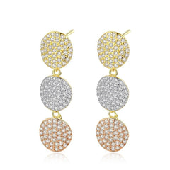 Paved Earrings Multicolor Three Round Classic and Luxury Women Jewelry Earrings.