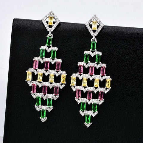 Luxurious and exaggerated color fashion AAA zircon eardrop, Beautiful jeweled zircon earrings for women ER-270