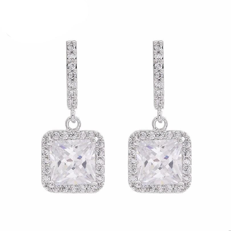 Earrings Radiant Cut Center stone.