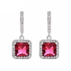 Luxury Gold plated micro square zircons of cubic zirconia earrings Four colors of women's earrings, The girl's gift