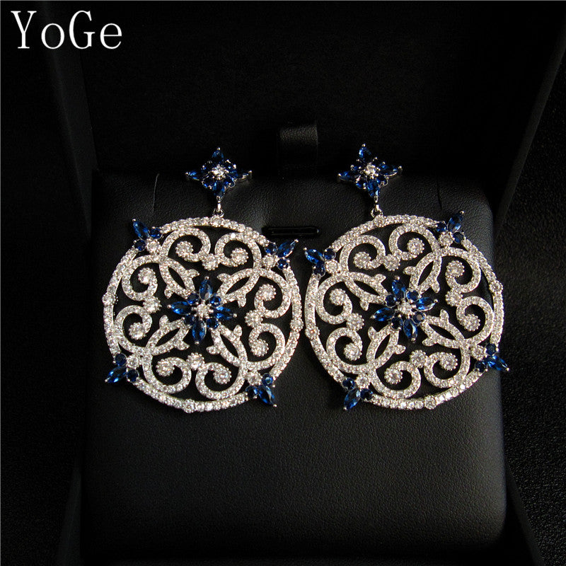 YoGe E710B  Luxury brand new AAA cubic zirconia hollowed Blue stone big heavy drop  earrings,womens accessories