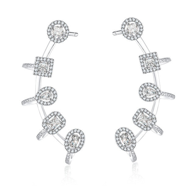 YoGe E0113  brand new  AAA cubic zirconia fancy stones  symmetrical  double piece cuff earrings,womens accessaries