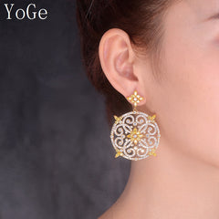 Luxury brand new hollowed AAA cubic zirconia clear/yellow crystal  big heavy drop  earrings