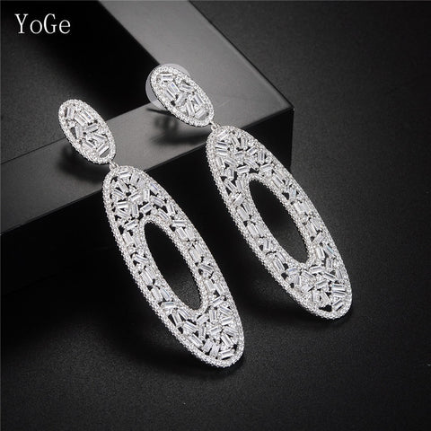 Pave setting baguette stones drop earrings women's unique jewelry,white colour