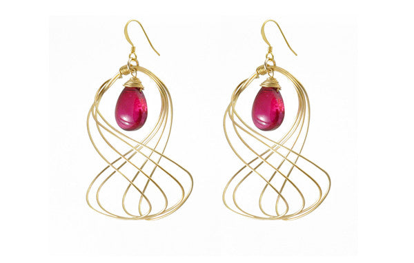 Susan Hanover Designs Wired Earrings with Pink Colored Stone
