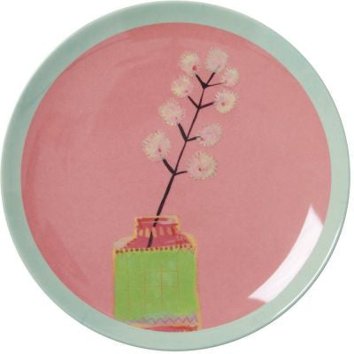 Rice Dk | Melamine Dessert Plate with Coral Hand Painted Flower Print