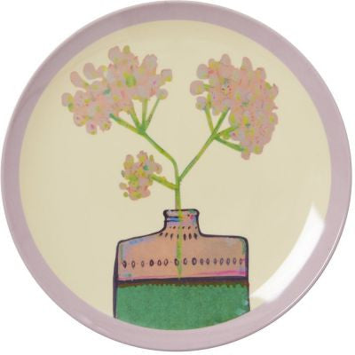 Rice Dk | Melamine Dessert Plate with Cream Hand Painted Flower Print