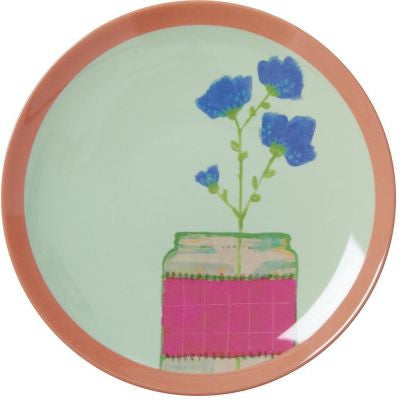 Rice Dk | Melamine Dessert Plate with Pastel Green Hand Painted Flower Print