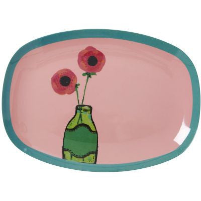 Rice Dk | Small Rectangular Melamine Plate with Pink Hand Painted Flower Print
