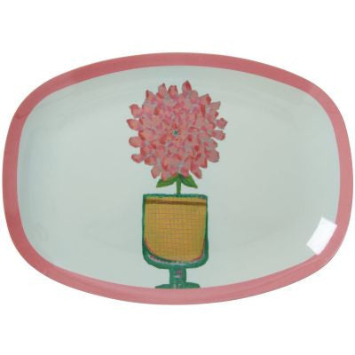 Rice Dk | Small Rectangular Melamine Plate with Mint Hand Painted Flower Print