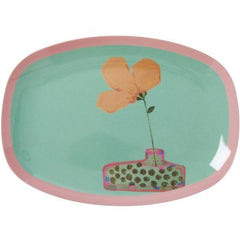 Rice Dk | Small Rectangular Melamine Plate with Jade Hand Painted Flower Print