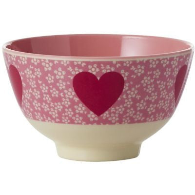 Rice DK | Two-Tone Small Melamine Bowl with Heart Print